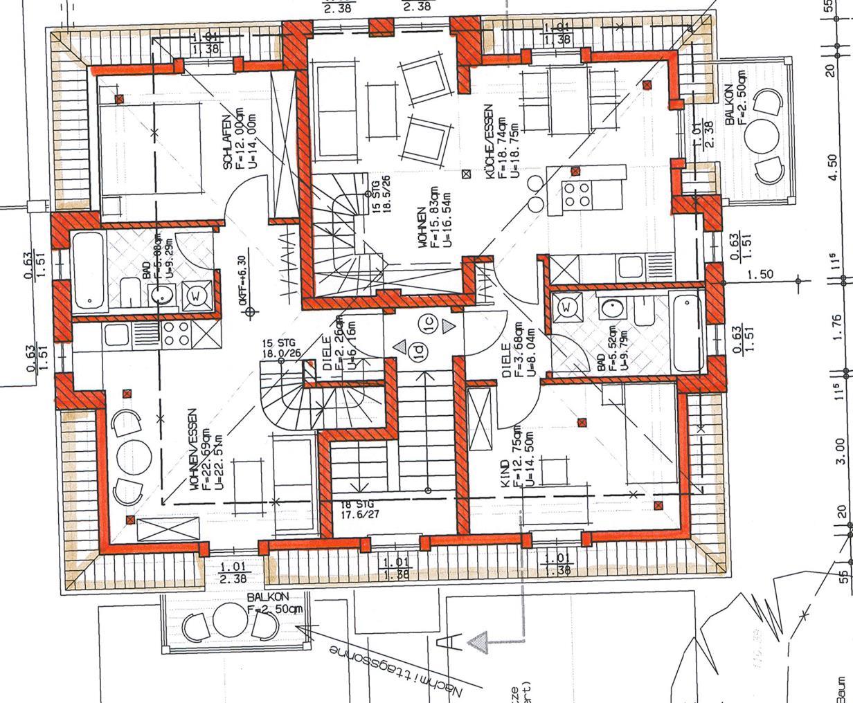 Grundriss Haus 1 WE 03 links 1. Obergeschoss