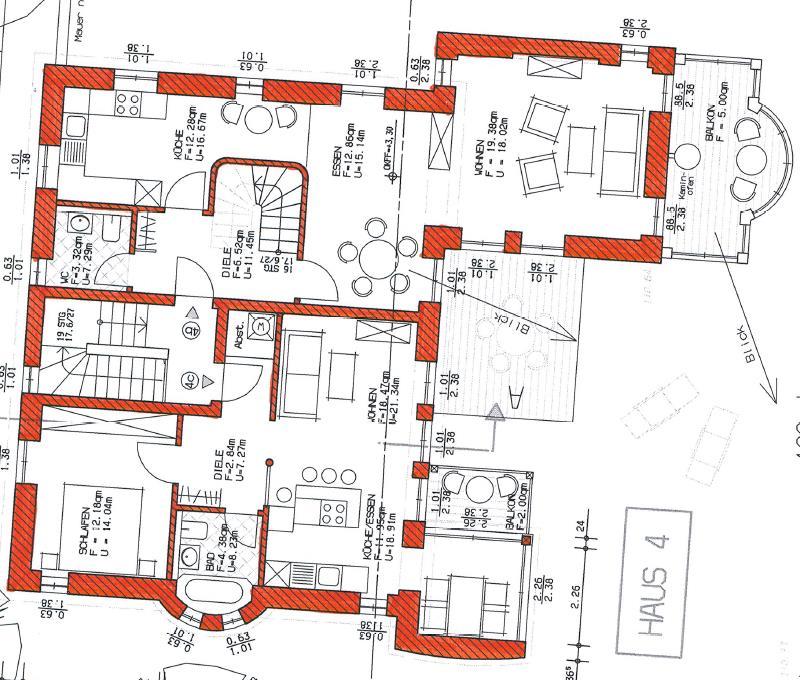 Grundriss Haus 2 WE 10 rechts 1. Obergeschoss
