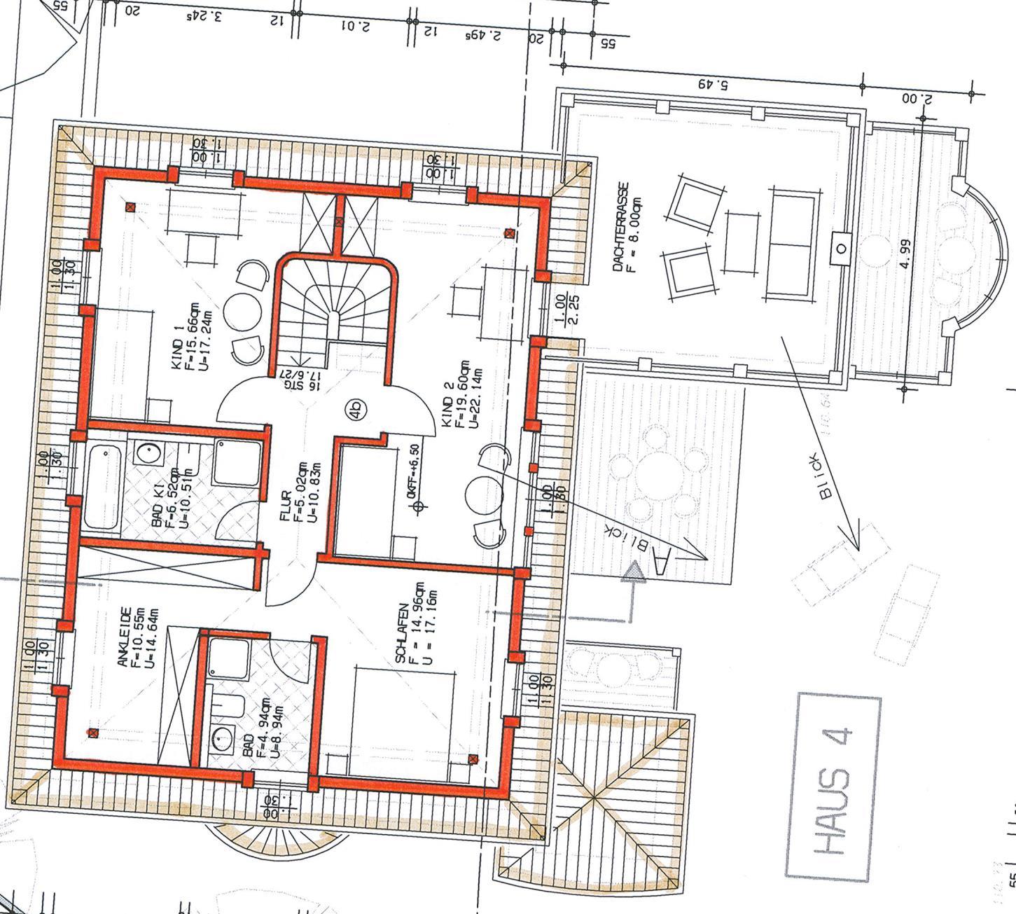 Grundriss Haus 2 WE 10 rechts Dachgeschoss